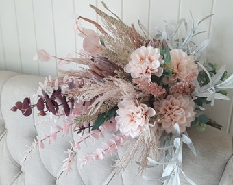 Bride bouquet. Artificial flowers.  Boho wedding bouquet native flowers. protea, dahlia, grasses and eucalyptus.  Dried look faux flowers.