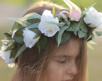 Rose flower crown, White, pink rose hair flowers, silk rose flower crown, bridal flower crown, flowers for hair, wedding crown, photoshoot