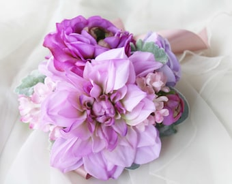 Wedding corsages etsy purple ladies wrist corsage bridesmaid corsage mothers corsage silk flower corsage wedding corsage school formal prom corsage mightylinksfo