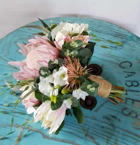 white and cream button bouquet with three buttonholes SALE Ready to ship pink