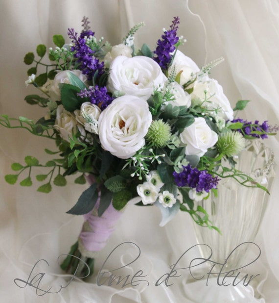 Scottish wedding bouquet. Silk flower bouquet. White purple | Etsy