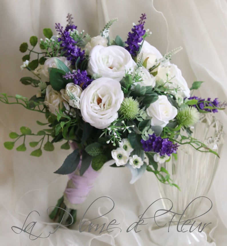Purple And White Wedding Flower Bouquets: Scottish Wedding Bouquet. Silk Flower Bouquet. White
