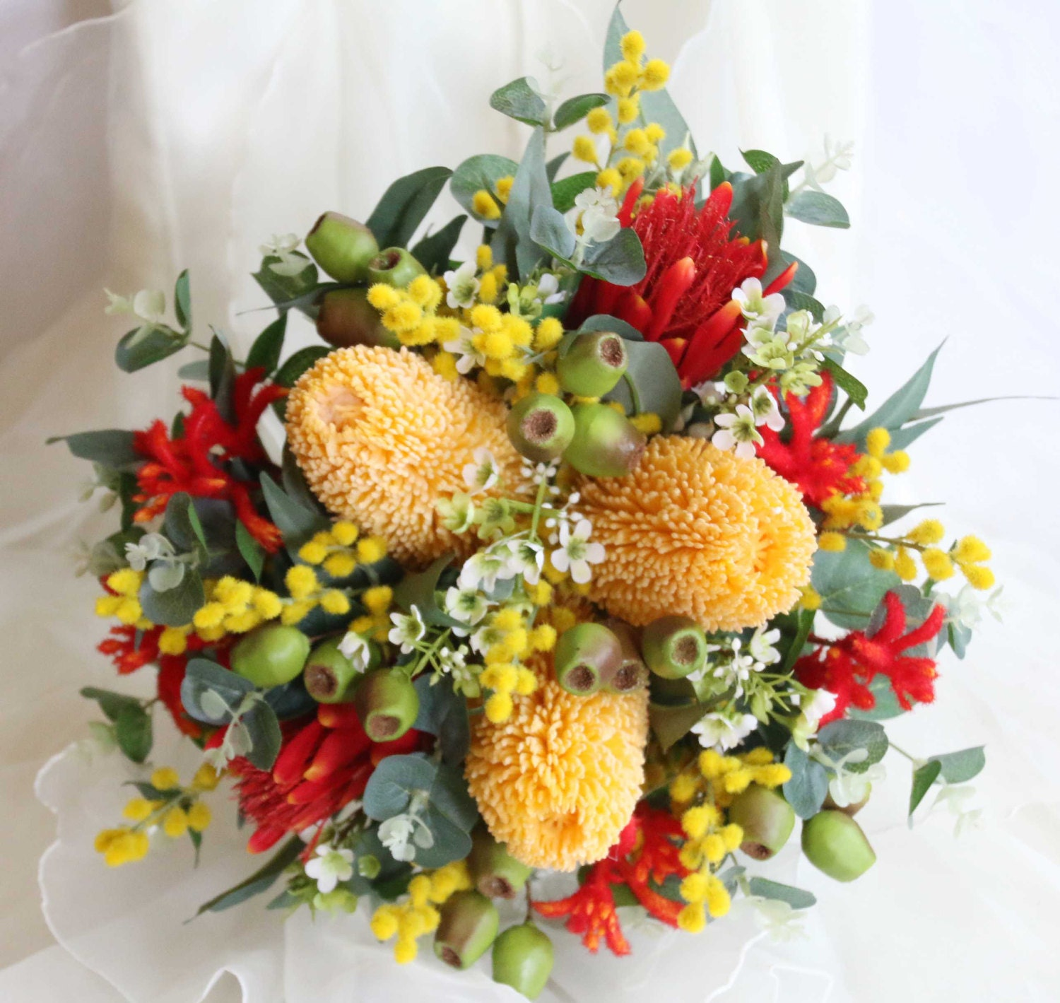 Australian Native Wedding Bouquet Banksia Kangaroo Paw Etsy