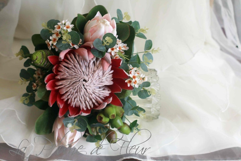 4188ff18c377 Protea wedding bouquet. King protea pink ice protea
