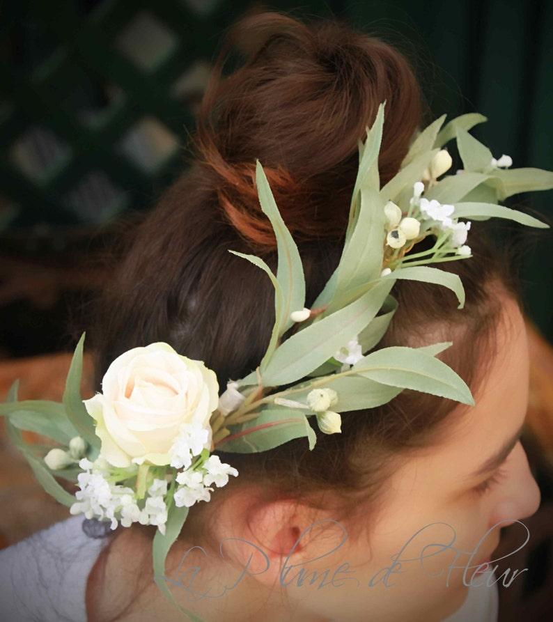 Gumnut Girl  Silk flower and foliage crown. Rose eucalypt image 0