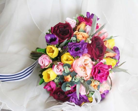 Colourful Wedding Bouquet Silk Flower Bouquet Hand Tied Etsy