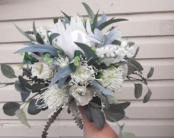 White wedding bouquet. Rustic native faux flowers. Bride bridesmaid. Protea, banksia, wattle, eucalyptus flowers. Australian wedding flowers