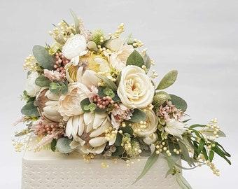 Teardrop cascade wedding bouquet. Bride bouquet. Cream flowers. Artificial wedding flowers. Native flower bouquet, proteas, eucalyptus, gum