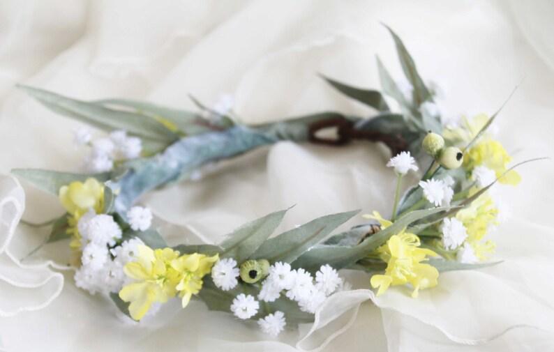 Silk flower crown. Eucalyptus leaves gumnuts babies breath image 0