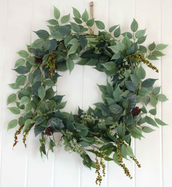 Christmas Greenery.Christmas Greenery Wreath All Foliage Door Wall Decoration Green Foliage Berries Mini Pinecones Large Door Wreath Wall Hanging