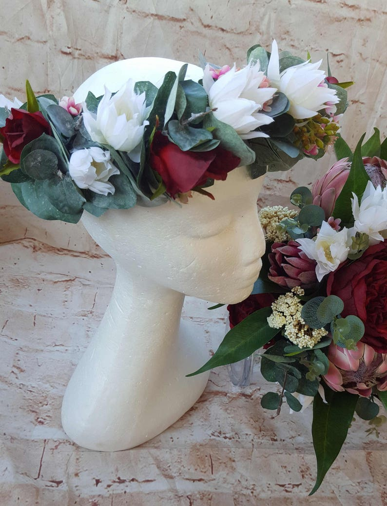 Bridal Flower crown. White burgandy hair flowers.  Blushing image 0