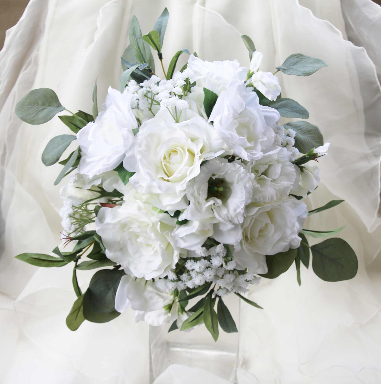 Weiße Hochzeit Bouquet. Garten Rosen Lissianthus Gardenie | Etsy