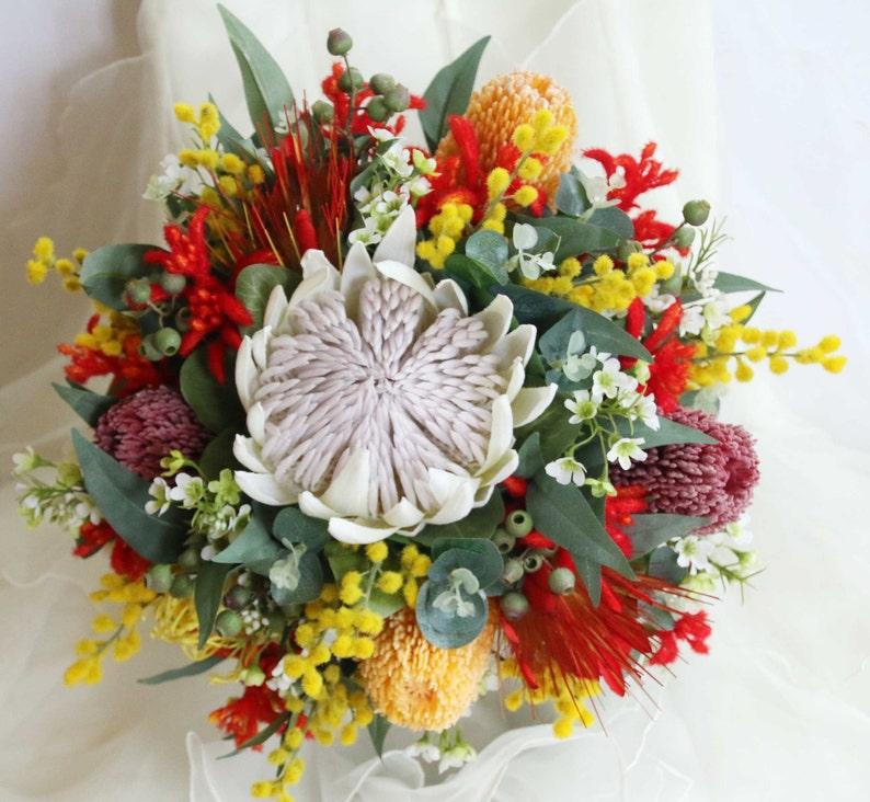 Rustic wedding bouquet native flowers  king protea banksia image 0