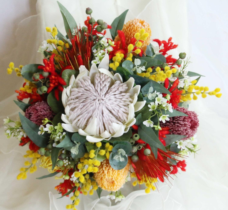 Protea Wedding Flowers: Rustic Wedding Bouquet Native Flowers King Protea Banksia