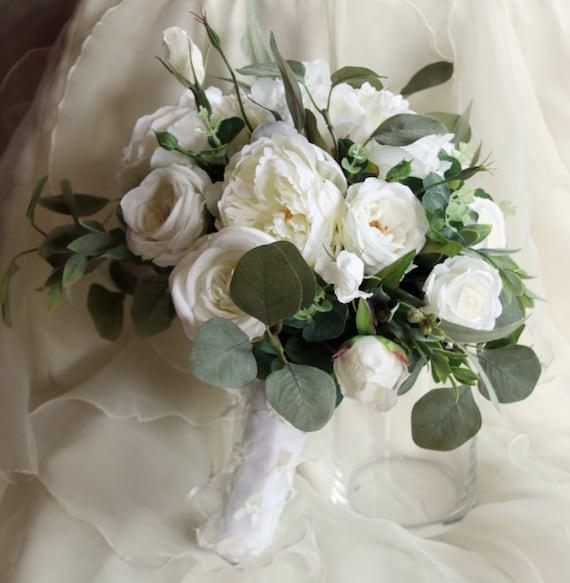 Boho Wedding Bouquet Eucalyptus Peony Garden Rose And Etsy