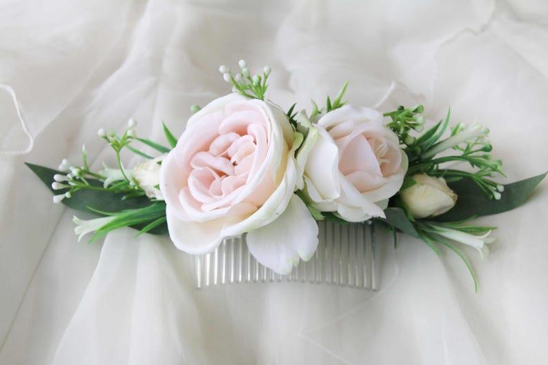 Silk Flower hair comb Peachy cream roses wildflowers. Bridal image 0