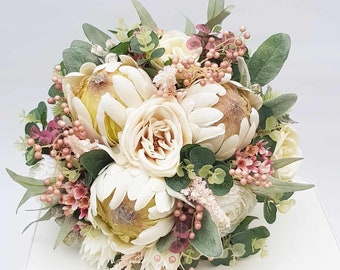 Wedding bouquet. Bride, bridesmaid bouquet. Cream flowers. Artificial wedding flowers. Native flower bouquet, proteas, eucalyptus, gum