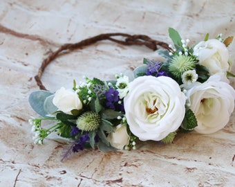 Scottish wedding flower crown. Silk flowers. White, purple, green flowers. Roses, thistle, wildflowers. To match Scottish thistle bouquet