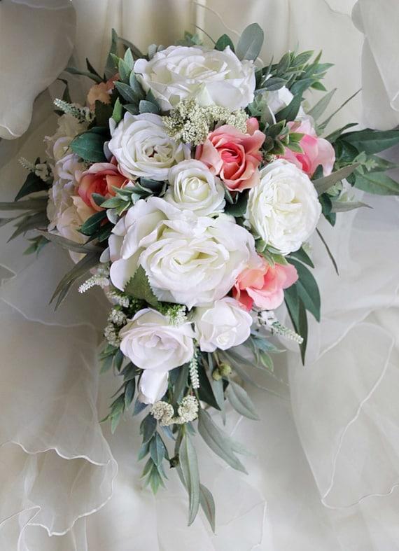 Teardrop cascade bridal bouquet wedding flowers artificial | Etsy