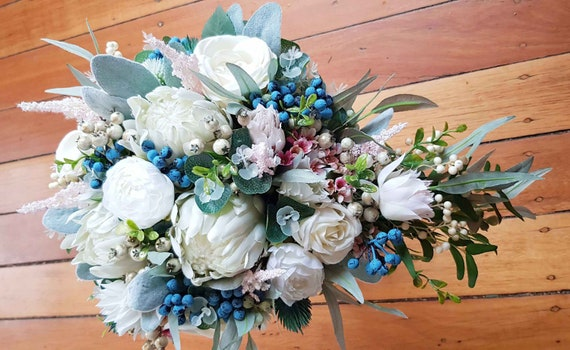 Teardrop Cascade Wedding Bouquet Bride Bouquet Cream And Etsy
