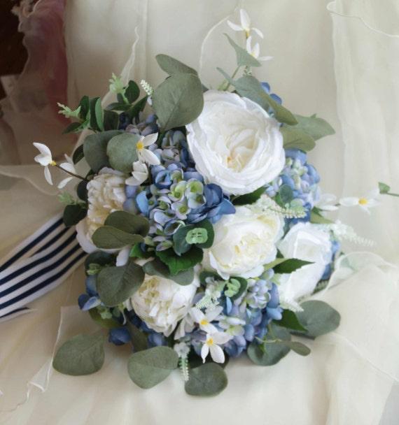 Brautstrauss Mit Blumenstrauss Blau Und Weiss Brautstrauss Etsy
