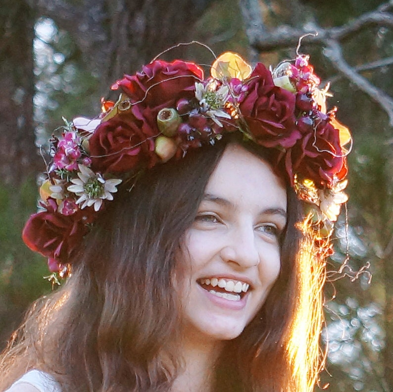 Rosehip  Flower crown rich deep reds  roses orchids image 0