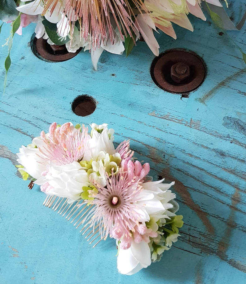 Pink white flower comb artificial silk hair flower. Bride image 0