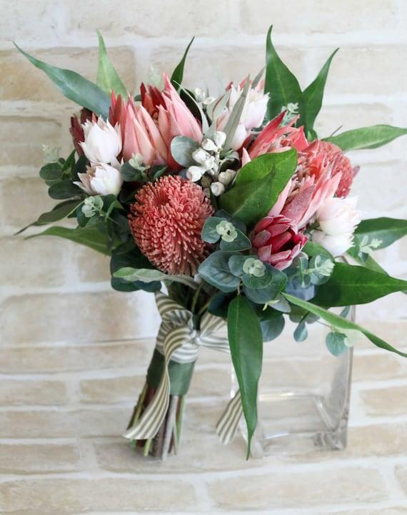 Wedding bouquet bride bridesmaid bouquet. Proteas banksia | Etsy