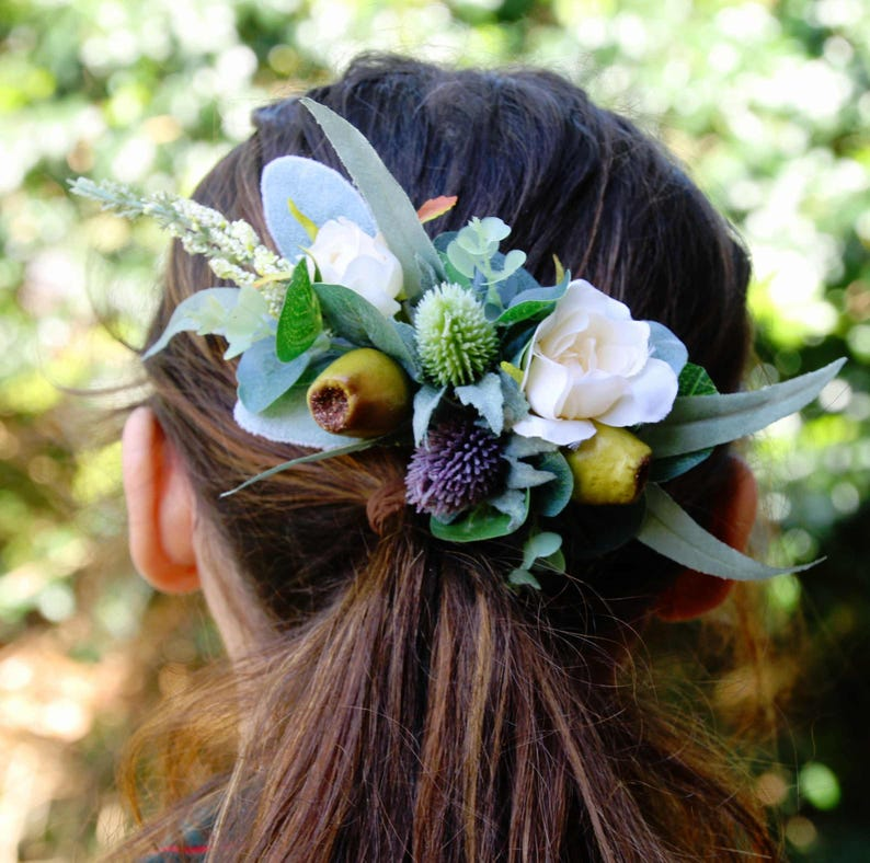 Silk flower hair comb. Roses thistle flower gumnuts image 0