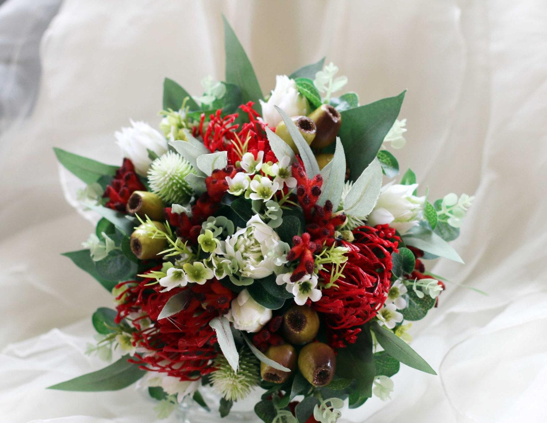 Red and white australian native rustic bouquet wedding etsy zoom izmirmasajfo