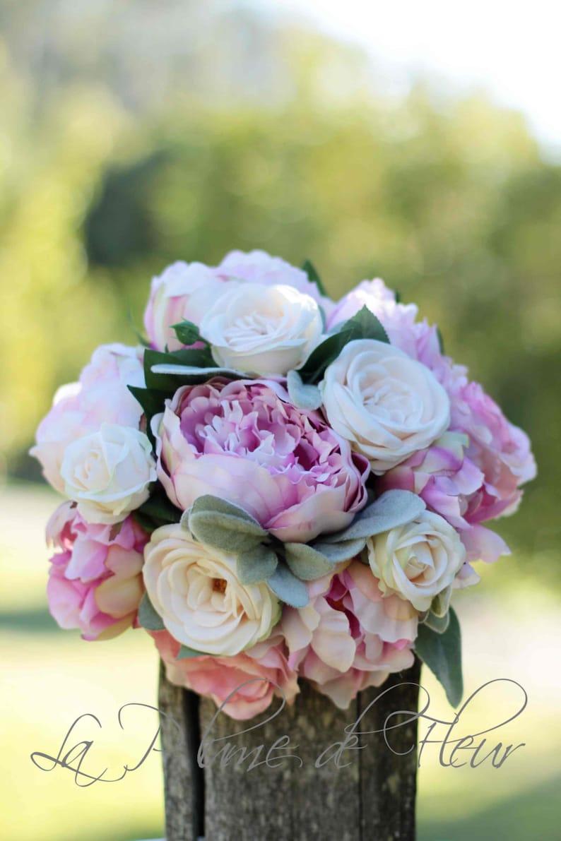 Tecniche Di Shabby Chic.Romantic Wedding Bouquet Peony And Rose Bouquet Shabby Chic Wedding Bouquet For Bride Or Bridesmaid