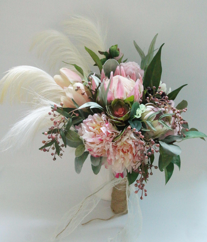 Protea Hochzeit Bouquet. Boho Seide Blume Blumenstrauß. | Etsy