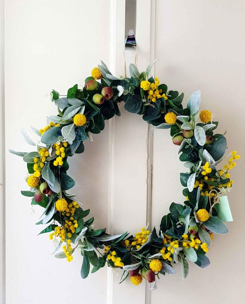eadc0df70ca382 Australian native wreath. Eucalyptus wattle billy buttons | Etsy