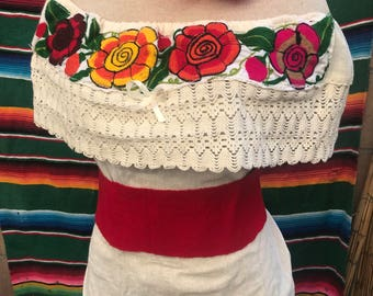 Rare Black Red and Green embroidered Capped sleeve hand made blouse top
