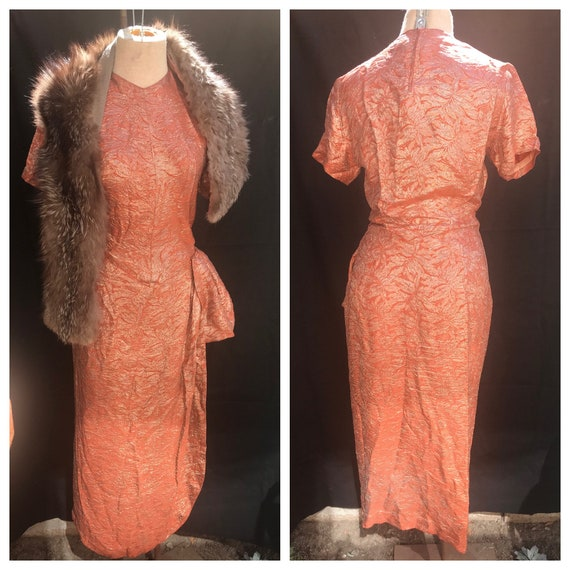 50's Original Gold Lurex Sarong Wiggle Dress