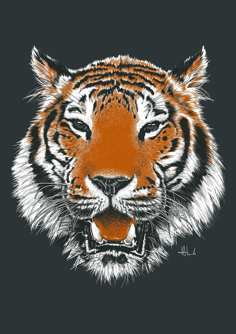 Tiger Drucken Zeichnung Tiger Abbildung Poster A3 Größe Tiger Kunst