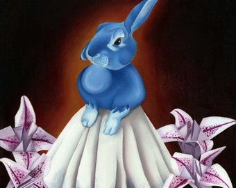 Rabbit Oil Painting Anthropomorphic Fine Art Traditional Figurative Pop Surrealism Low Brow Blue Bunny Origami Pink Lilly Victorian