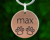 Engraved Custom Dog Tag - Pawprints (name on front 35 chars text on back)