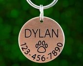 Custom Engraved Dog Tag - Pawprint (name phone on front 35 chars text on back)