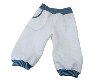 Linen Boys pants, White Linen Boys Knickerbocker, Boys Harem Pants, 4T or EU 104 cm, European Handmade
