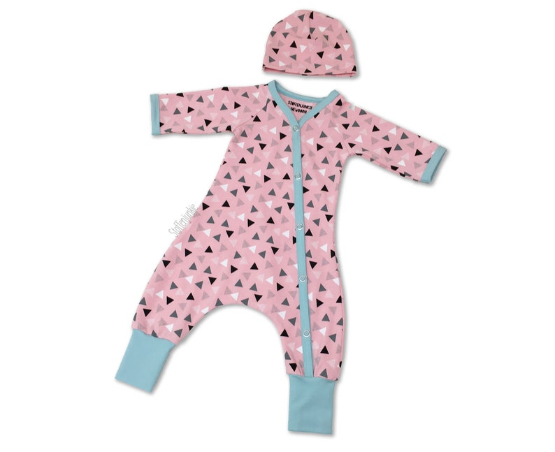 947707f8ddd5 Spring Baby Girls Playsuit with hat OOAK Newborn Jumpsuit and
