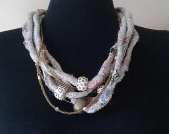 Rustic Glam Statement Necklace / Multi-Strand Necklace / Fiber Art Necklace / Unique Handmade Textile Necklace / Xmas Gift Necklace