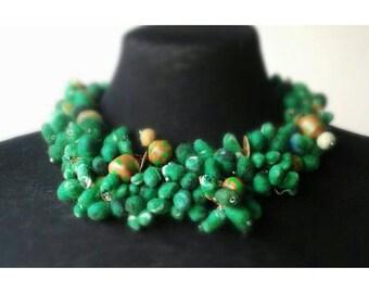 Green Felt & Polymer Bead Wire Crochet Collar Necklace