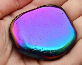1 XL Magnetic RAINBOW HEMATITE Palm Stone for Grounding, Strength, Positive Energy Healing Crystal Stone Magnetic #SP02