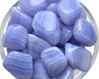 1 BLUE LACE Agate Tumbled Stone (3 Sizes - L, XL, Jumbo) Healing Crystal and Stone Peace of Mind #BL03