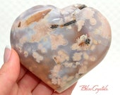 11 oz Flower Agate Polished Puffy Heart Stone Stand for Relaxation Stress Relief Madagascar FA13