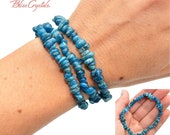 1 Apatite 7 quot Bracelet Dark Blue Tumbled Chip Elastic Jewelry for Motivation, Weight Loss, Accomplishment AB20