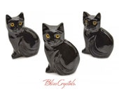 1 BLACK OYNX Kitty CAT Stone Yellow Eye Color Carving Decor, Sculpture BC12