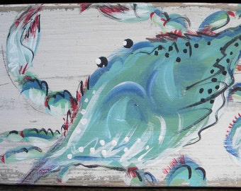 pallet and barn wood art-blue crab
