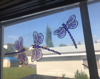 Dragonfly  FAUX Stain Glass Window Clings MADE to ORDER